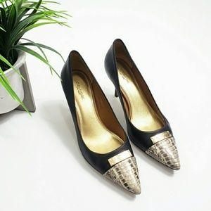 Coach ZAN Black and Snakeskin Toe Leather Heels